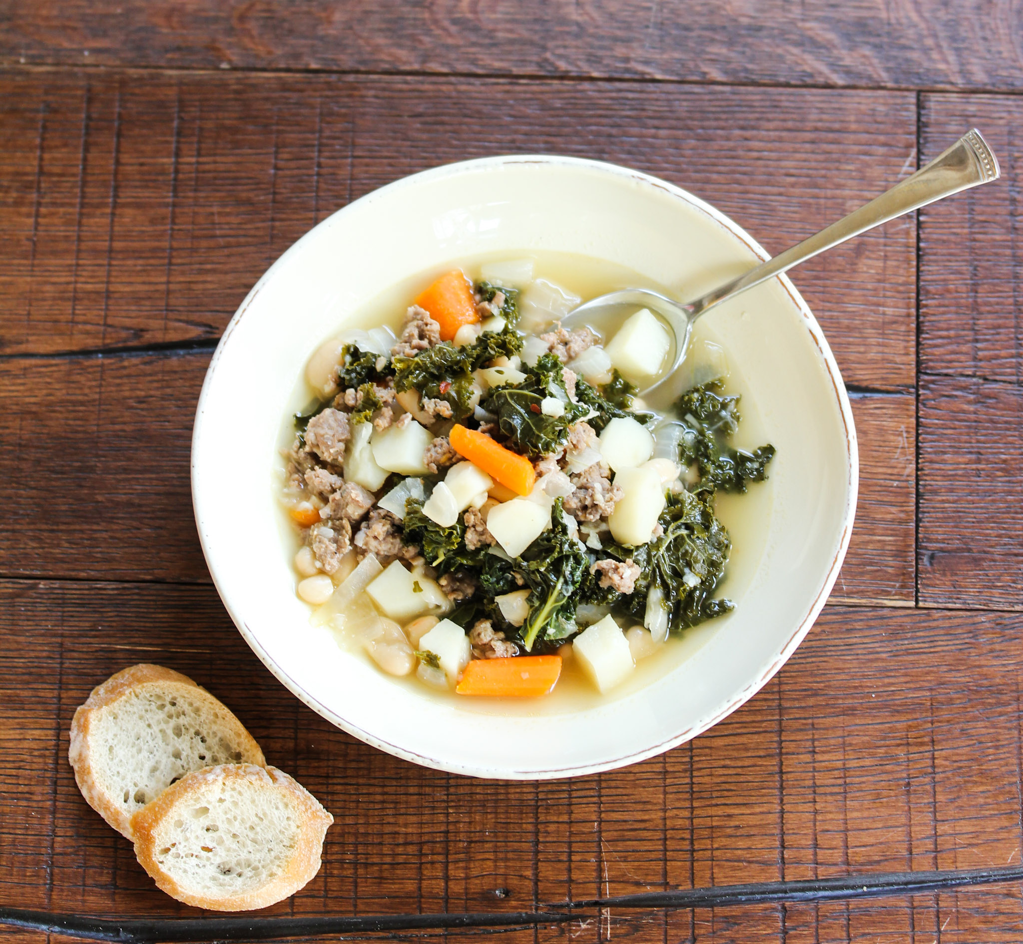 Tuscan Style White Bean, Sausage and Kale Soup | Live Life - Love Food
